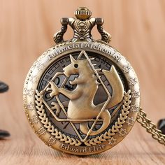 Retro Bronze Modern Cartoon Fullmetal Alchemist Quartz Pocket Watch Steampunk  Vintage Necklace Fashion Womens Mens Kids Gift