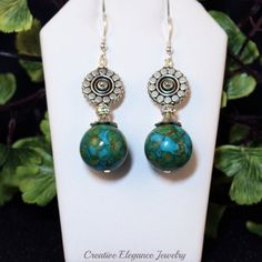 Mosaic Turquoise, and Silver Flower Dangle Earrings
