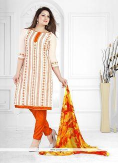 Best Cream Chanderi Churidar Designer Suit Model: YOS6646