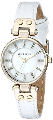 Anne Klein Womens AK1950MPWT GoldTone Watch with White Leather Strap ** To view further for this item, visit the image link.