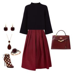 Burgundy by bianca-georgescu on Polyvore featuring polyvore, fashion, style, Jaeger, TIBI, Alexandre Birman, Hermès, LE VIAN, Pomellato and clothing