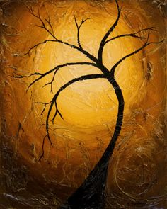 Tree silhouette painting - 8x10 Original Acrylic Painting - Heavily Textured - Gold Accents - Winter Tree - Tree Art - Wall Decor. $75.00, via Etsy.