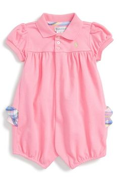 Ralph Lauren Ruffle Short Sleeve Romper available at #Nordstrom