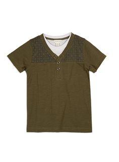 Pumpkin Patch - tees - henley mock short sleeve tee - S4BY11012 - winter moss - 5 to 14