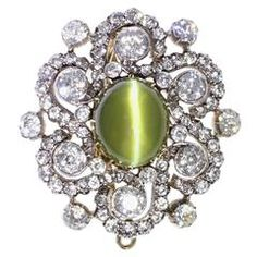 Edwardian Cat's Eye Diamond Silver Gold Brooch Pendant