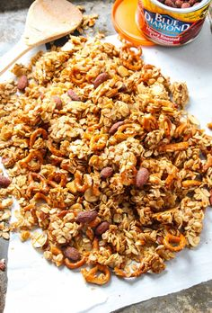 Honey Cinnamon Almond PRETZEL Granola - Sweet, salty, crunchy granola, bursting with cinnamon/vanilla flavor and lots of fun texture. Some of the BEST granola I have ever tasted! - Layers of Happiness