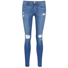 Frame Denim 'Le Skinny de Jeanne' ripped jeans (€205) ❤ liked on Polyvore featuring jeans, pants, bottoms, blue, destroyed skinny jeans, stretch skinny jeans, blue jeans, stretchy skinny jeans and destructed skinny jeans