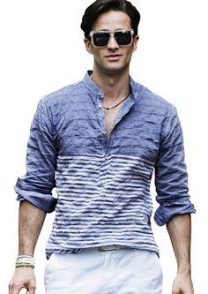 b0d117c8d Doublju Mens China Collar Half Stripe Casual Shirts #doublju Chinese Collar  Shirt, Stylish Mens