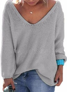 Casual V Neck Oversized sweater Collar: V-Neck Sleeve Length: Full Material…