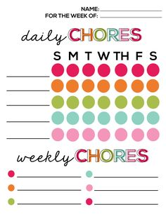 Printable Chore List from Thirty Handmade Days