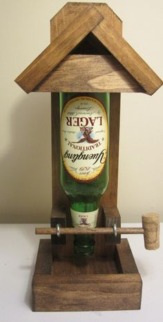 beer bottle bird feeder - should be cool with wine bottle too!