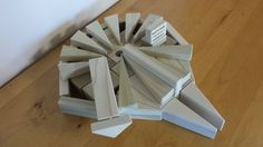 """Want to share a little Star Wars nostalgia with your kids? Help them build this model of the Millennium Falcon from wooden blocks. """"The fastest hunk of junk in the galaxy!"""" Find step by step instructions at http://backtoblocks.com/blog/backtoblocks_blog_wooden_blocks_star_wars_millennium_falcon/"""