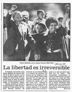Liberación de Nelson Mandela, tras 27 años de prisión. Publicado el 12 de febrero de 1990.
