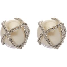 Chain Wrapped Pearl Earrings