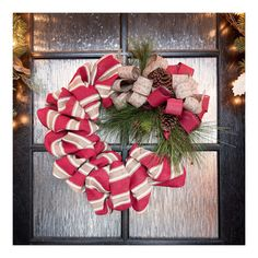 Add a festive touch to your home décor with a burlap and pine designer wreath for under $35!
