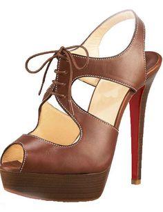 High Heels Brown Calfskin Fashion Red Bottom Shoes