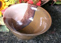 Bowl Chocolate Caramel Vanilla Hand Thrown by HurricanePottery, $15.00