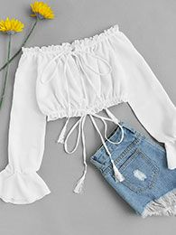 Shop Off Shoulder Drawstring Split Blouse online. ROMWE offers Off Shoulder Drawstring Split Blouse & more to fit your fashionable needs. Girls Fashion Clothes, Teen Fashion Outfits, Outfits For Teens, Girl Outfits, Teen Clothing, Clothes Women, Ootd Fashion, Womens Fashion, Cute Summer Outfits