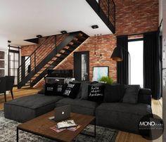 Salon w czerni i brązie: styl , w kategorii Salon zaprojektowany przez MONOstudio Loft Interior Design, Loft Design, Home Room Design, Room Interior, Interior Architecture, Living Room Designs, House Design, Design Design, Modern Design
