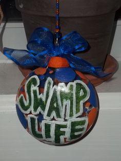 UF Gators Swamp Life hand painted Christmas ornament Glass University of Florida orange and blue. $10.00, via Etsy.