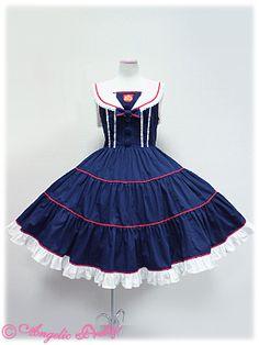 Sweet Lolita Gothic Punk Jumper Skirt Navy Blue Sailor Dress Navy sailor collar lolita skirt braces skirt oversized jsk-inDresses for US $52.99