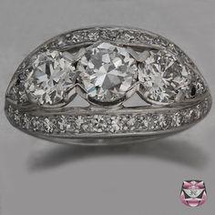 Vintage Diamond Engagement Ring - Certified Three Stone European-cut Diamond