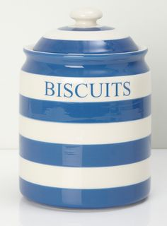 Vintage Blue & White Striped Cornish Ware Biscuit Jar with Lid ....
