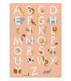 Learn about animals and letters in this children's alphabet poster created from an original gouache illustration by Anna Bond. Alphabet Poster, Abc Poster, Alphabet Charts, Alphabet Print, Animal Alphabet, Alphabet Soup, Alphabet Books, Animal Letters, Kids Poster