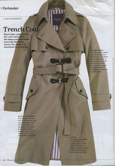 "ktprettyideas: "" Anatomy of a trench coat: "" Because trench coats are fabulous."