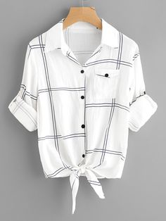 To find out about the Plus Plaid Knot Hem Blouse at SHEIN, part of our latest Plus Size Blouses ready to shop online today! Shirts & Tops, Casual T Shirts, Shirt Blouses, Women's Tops, Casual Wear, Men Casual, Girls Fashion Clothes, Teen Fashion Outfits, Clothes For Women