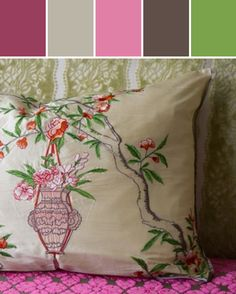 Royal Collection Rosa Chinesis Peony pillow design Designed By Burke Decor via Stylyze
