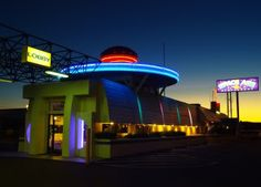 The Space Age Lodge & Restaurant at sunset