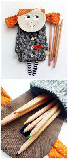Stiftemappe für den Schulanfang, Geschenk zur Einschulung und Idee, um die Zucktertüte zu füllen / Geschenkidee für den ersten Schultag: Bleistift Fall made by Maritusan via DaWanda.com