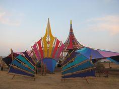 Carey Thompson & Vita Motus, Dance Temple Boom Festival 2012 Forest Festival, Festival Camping, Conquistador, Psychedelic Decor, Tent Living, Outdoor Cinema, Bamboo Architecture, Bamboo Design, Bell Tent