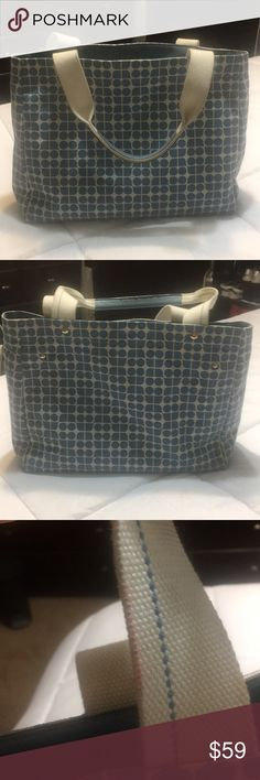 "Kate Spade ♠️ Handbag In good condition besides 3 stains all pictured but very minor, bag is blue and cream with gold hardware, snap closure, this bag is a perfect size, measures 16""10""5, strap drop is 8 1/2 inches and the bag fits on your shoulder kate spade Bags Totes"