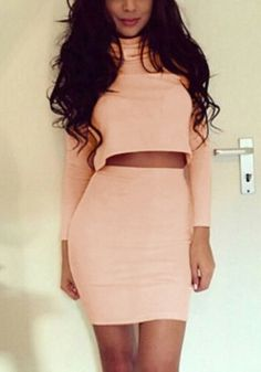 Look fresh and stylish no matter what in this light salmon two piece skirt set. It features turtleneck crop top and mini bodycon skirt. | Lookbook Store Co-ords
