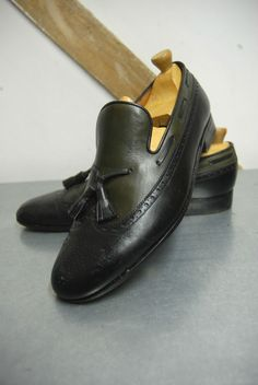 Men s Black & Green Two Tone Leather Tassel Loafer Brogues by JM Weston UK 8 C