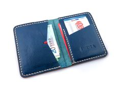 Navy Blue Leather Bifold Wallet Italian Veg Tan by SHKIRA on Etsy MXS