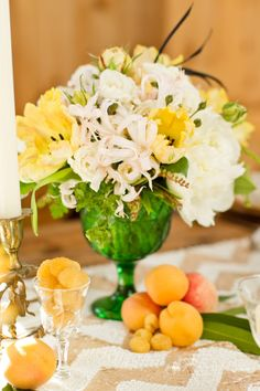 flowers + sequin runners + fruit, lots of fruit  Photography by mikelarson.com, Event Design and Styling by markpadgetteventdesign.com, Floral Design by panaceaflowery.com