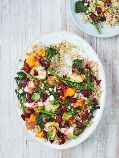 Quinoa with sweet potato, avocado, beetroot and broccoli salad.