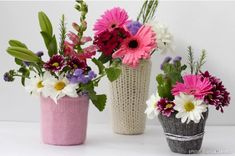Too cute and inexpensive DIY flower pots! Creating a sweater wrapped flower pot or vase is an easy task. When you are so good at knitting then why not create some beautiful sweater-covered flower pots by recycling the wool of some old unused sweaters.