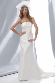 Sheath Strapless Draped Neckline Ruched Waistband Flower Accent Taffeta Wedding Dress-ws0094, $214.95
