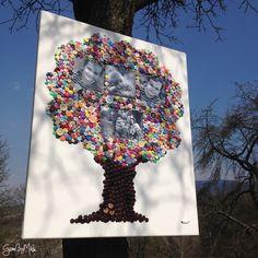 Gombíkový obraz - Strom rodiny
