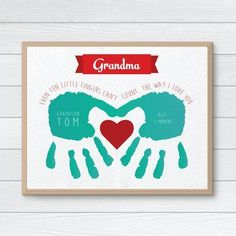 Mothers Day Crafts For Kids Discover Personalized Gift for Grandmother CUSTOM Handprint Art Mothers Day Hand Print Gift from Kids Grandmother Birthday Gift Children Gift Grandparents Day Crafts, Mothers Day Crafts For Kids, Diy Mothers Day Gifts, Fathers Day Crafts, Grandparent Gifts, Mothers Day Cards, Gifts For Kids, Presents For Mothers Day, Grandmother Birthday