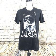 Unisex Grumpy Cat T-Shirt I Hate Mondays Graphic Tee Coal Black Size S EUC #GRUMPYCAT #GraphicTee