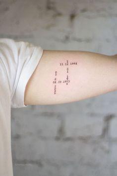 Date Tattoos, Family Tattoos, Mom Tattoos, Friend Tattoos, Couple Tattoos, Body Art Tattoos, Tattoos For Guys, Sleeve Tattoos, Tattoos For Women