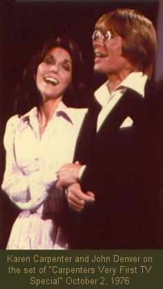 The Carpenters. Their very first TV-Special: 'Karen and Richard Carpenter Special', October Karen and John Denver. Karen Carpenter, Richard Carpenter, First Ladies, John Denver, 70s Artists, Music Artists, Sunshine Music, Karen Richards, Dorothy Hamill