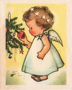 angel and tree When I was very small I had three angel pictures on my wall. I think they were Christmas cards. This appears to be by the same illustrator. I wish I had those three prints now. Christmas Scenes, Retro Christmas, Christmas Angels, Christmas Greetings, Christmas Holidays, Christmas Doodles, Christmas Decorations, Christmas Tree, Vintage Christmas Images