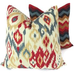 red and blue throw pillows | Blue, Red, Honey Ikat Decorative Pillow Cover, Square, Lumbar or ...