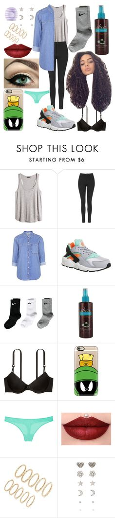 """""""Party night"""" by xo-arissa-xo ❤ liked on Polyvore featuring H&M, Topshop, NIKE, Victoria's Secret, Casetify, Forever 21, Eos, women's clothing, women and female"""
